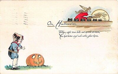 1916 Witch & Black Cats Small Boy & Jack O' Lantern Halloween post card