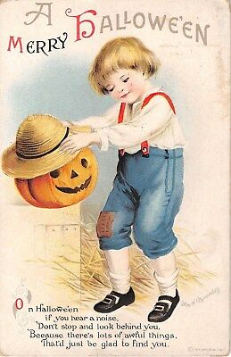 1916 sgd. Clapsaddle Boy with Jack O Lantern Merry Halloween post card