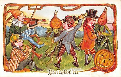 c.1910 Dancing Men & Vegetable People Jack O'Lantern Halloween post card