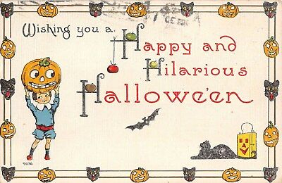 1913 Boy with Jack O' Lantern Black Cat Halloween post card JOL Black Cat Border