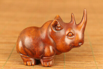 chinese old boxwood hand carved rhinoceros statue netsuke collectable
