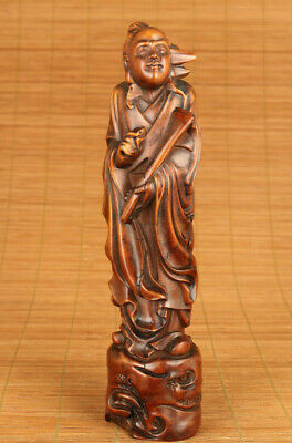 chinese old boxwood hand carved Taoists laozi statue netsuke collectable