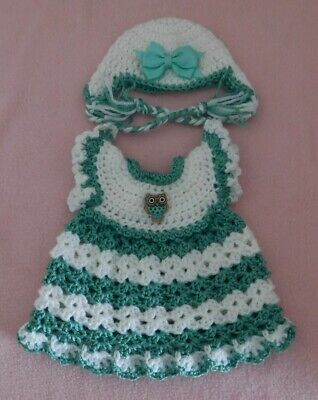 """Wellie Wishers Clothes LtGreen White Dress & Hat Fits American Girl Wellie 14.5"""""""