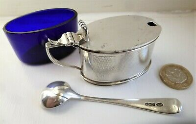 Antique Sterling Solid Silver Mustard Pot (Birm.1946) & Spoon (Sheffield 1914)