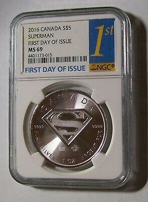 "2016-Canada-1oz-Silver SUPERMAN $5 Coin NGC-MS69 First Day of Issue ""S"" SHIELD"