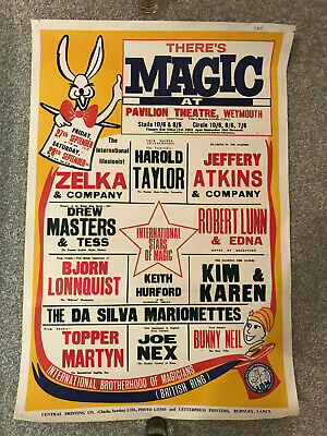 Vintage 'There's Magic' show poster from 1968 hosted by Harlow Taylor, Weymouth