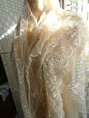 4 Stunning Flounce Lengths Of Antique Victorian Bridal Lace C.1880