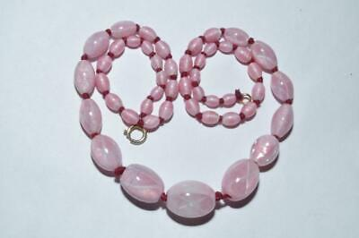 String Of Beautiful Vintage Art Deco Pink Satin Glass Beads With Ribbon Crosses