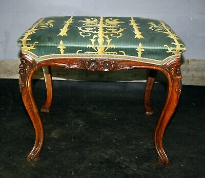 Antique nineteenth Century French carved walnut pretty dressing table stool