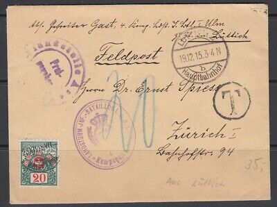 1915 WW1 Feldpost Army Cover with Switzerland Postage Due
