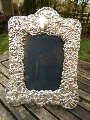 Ornate Hallmarked Silver Freestanding Picture Photo Frame By R.b.b. London 1989.
