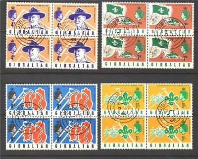 Gibraltar 1968 Scouts used blocks x4 SG223-226