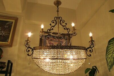 ANTIQUE Vint.RARE Noah Ark French 4 Arms Crystal Chandelier Light 1940's 31 in