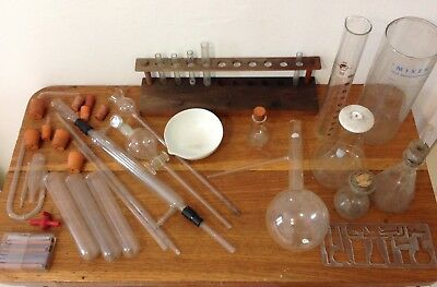 Collection of Vintage Glass Chemistry Laboratory Equipment