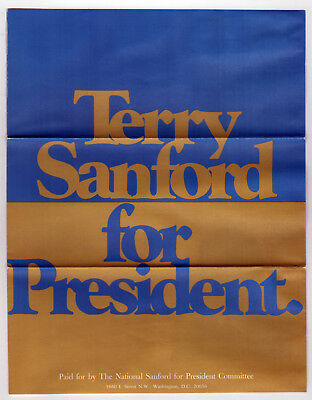 1972 TERRY SANFORD PRESIDENT Political Brochure NORTH CAROLINA Governor DUKE NC