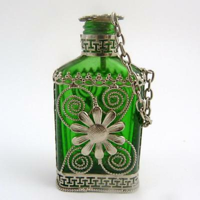 Vintage Green Glass & White Metal Scent Bottle, Chicago Glass Manufacturing Co.