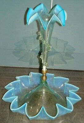 19Th C. Blue Green & White Vaseline Glass Epergne Rigaree Ruffled Trumpet & Base