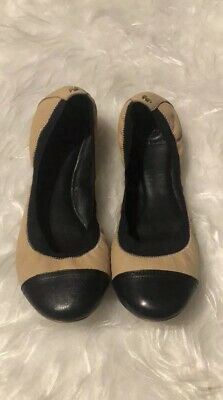 1a0017751a Tory Burch Carrie Beige & Black Leather Cap Toe Balet Flat Size 10 ...