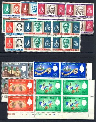 Dominica 1967-68 Kennedy and Statehood used blocks x4