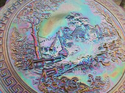 Imperial HOMESTEAD ANTIQUE CARNIVAL ART GLASS CHOP PLATE~SMOKE~RARE, GORGEOUS!