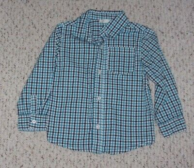 White, Navy & Bright Blue Plaid Crazy 8 L/S Shirt, Rule the Rink, Size 3T, VGUC
