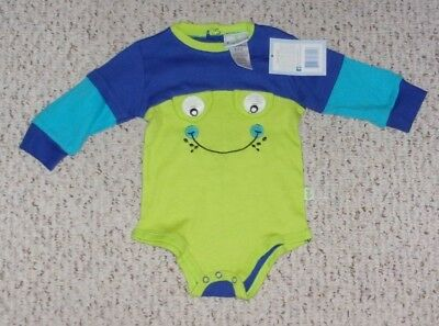 NWT, Duck Duck Goose Blue, Lime Green & Bright Blue L/S Bodysuit w/ Face, 6-9 m
