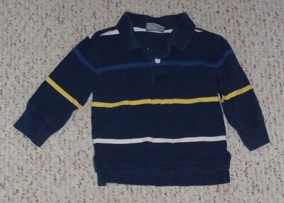 Hanna Andersson Navy L/S Shirt w/ Blue, Yellow & White Stripes, 80 or 18-24 mos