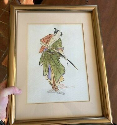 Vintage Japanese Mid Century Watercolor painting signed B. Schlachter