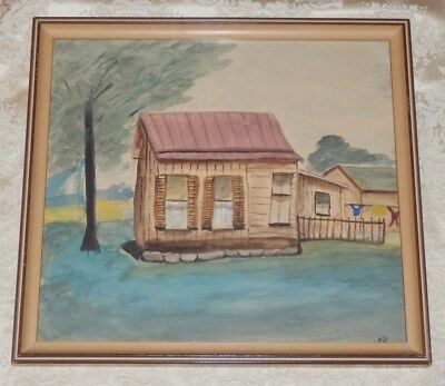 Vintage Water Color Painting Of Old Log Cabin