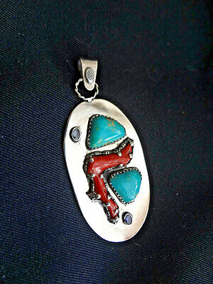 Morensi mine turquoise natural red coral sterling silver Pendant