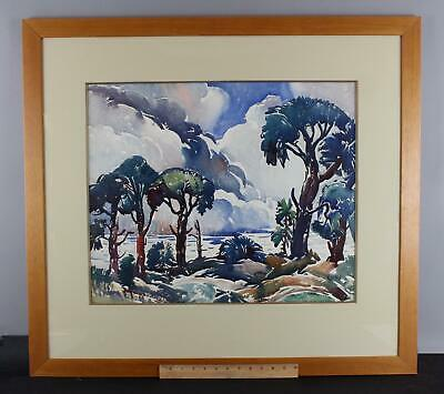 Large Antique GEORGE PEARSE ENNIS American Landscape Watercolor Painting, NR