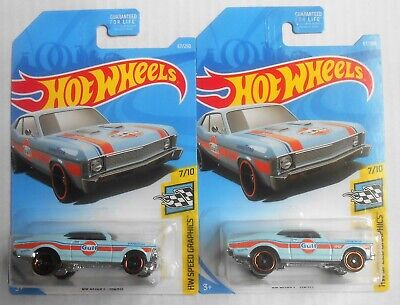 Hot Wheels 2019 Gulf '68 Chevy Nova Lot Of 2 Speed Graphics 67/250 Mint On Card