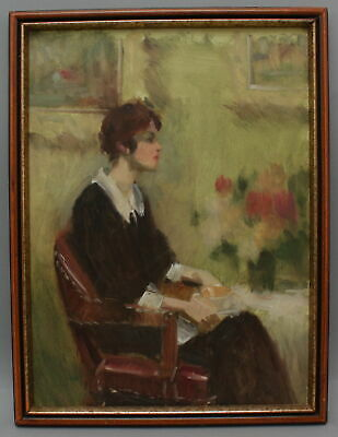 Antique HARRY BARTON American Impressionist Portrait Oil Painting, Woman Flowers