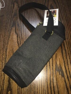 BRAND NEW Canvas Leather Black Pinot Wine Insulated Bottle Carrier Holder Strap