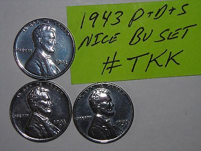 wheat penny lotK 1943,1943-D,1943-S CH UNC LINCOLN STEEL CENT BU SET 1943S,1943D