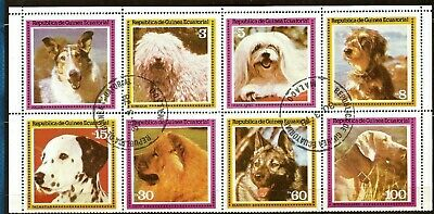 Equatorial Guinea - 1978 - DOGS (Canis lupus familiaris) - CTO Mini Sheet of 8