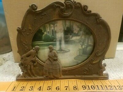 Antique Victorian Cast-iron Candle Lamp-glass Picture Scene & Courting couple