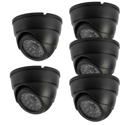 5x In/Outdoor Dummy Dome Fake Security Camera CCTV False Flashing Red DEL Light