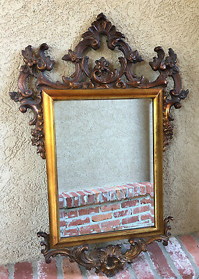 Antique French Carved Oak GOLD GILT Frame Beveled Wall Mirror Louis XV