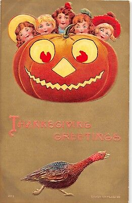 c.1910 Children with Jack O Lantern Thanksgiving post card Halloween