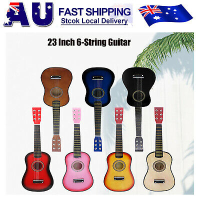"AU 23"" Wood Beginners Acoustic Mini Guitar 6 String Kids Gift Children Music toy"