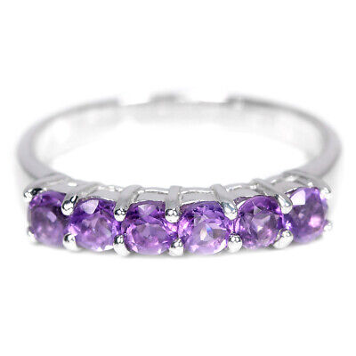 Natural Aaa Purple Amethyst Round Sterling 925 Silver Ring Size 6.5
