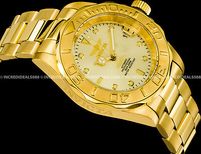 Invicta Pro Diver NH35 Automatic 24 Jewel 18k Gold Plated Champagne Watch 9010