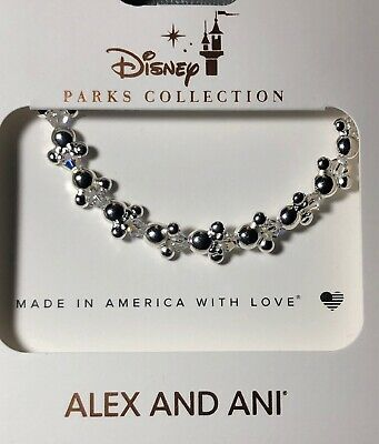 Disney Parks Alex And Ani Mickey And Minnie Mouse Icon Silver Bangle Bracelet
