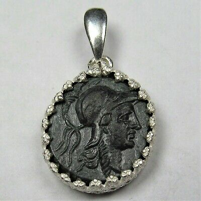 Authentic Ancient Greek Bronze Coin Sterling Silver Pendant Setting Athena #199
