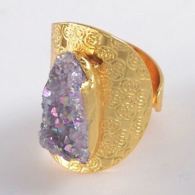 Size 8 Natural Agate Titanium Druzy Ring Gold Plated T075401