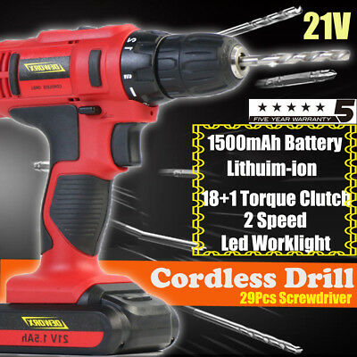 21V Cordless Drill 1500mAh Fast Charger Lithium Ion Screwdeiver Heavy Duty Case