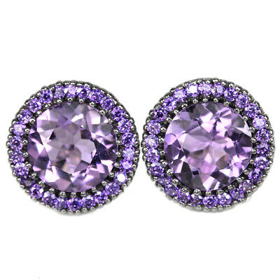 Natural Aaa Purple Amethyst 11 Mm. Round & Cz Sterling 925 Silver Earring