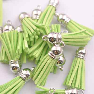 10pcs Green Silver-Tone-Metal-Top-Tassels-Terylene-Velvet-Pendant-for-jewer