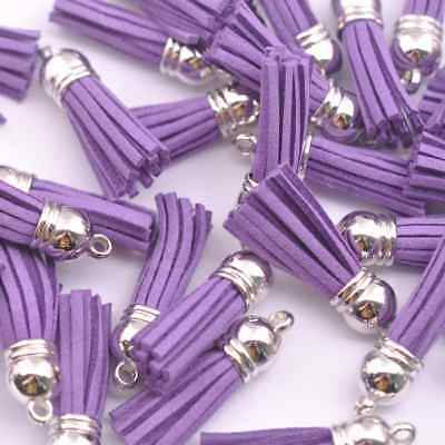 10pcs Purple Silver-Tone-Metal-Top-Tassels-Terylene-Velvet-Pendant--for-jewer